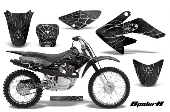 CRF 70 80 100 Graphics Kit SpiderX Silver 570x376 - Honda CRF70 2004-2015 Graphics