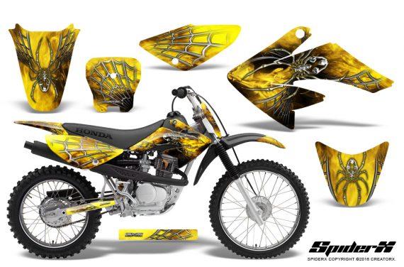CRF 70 80 100 Graphics Kit SpiderX Yellow 570x376 - Honda CRF70 2004-2015 Graphics