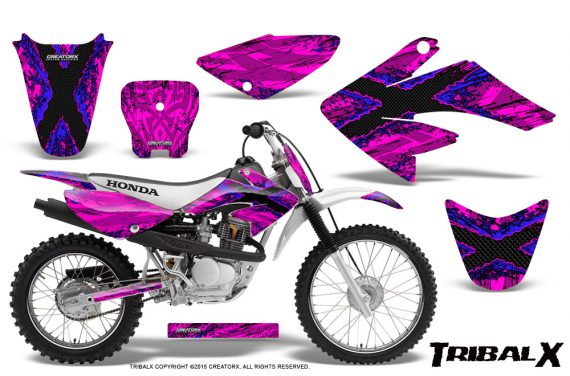CRF 70 80 100 Graphics Kit TribalX Blue Pink 570x376 - Honda CRF70 2004-2015 Graphics