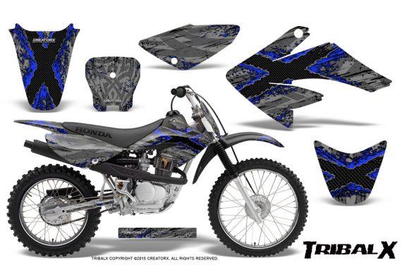 CRF 70 80 100 Graphics Kit TribalX Blue Silver 570x376 - Honda CRF70 2004-2015 Graphics