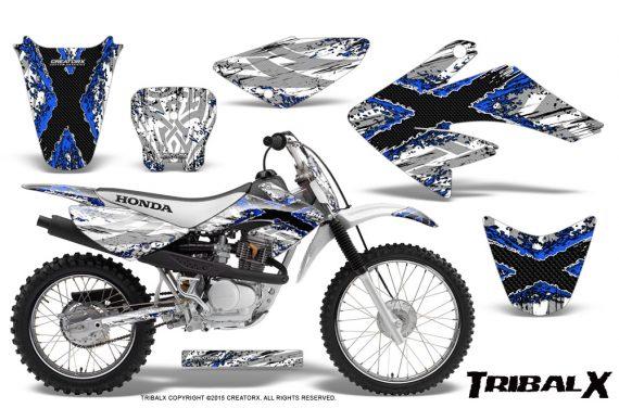 CRF 70 80 100 Graphics Kit TribalX Blue White 570x376 - Honda CRF70 2004-2015 Graphics