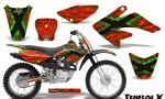 CRF 70 80 100 Graphics Kit TribalX Green Red 150x90 - Honda CRF70 2004-2015 Graphics