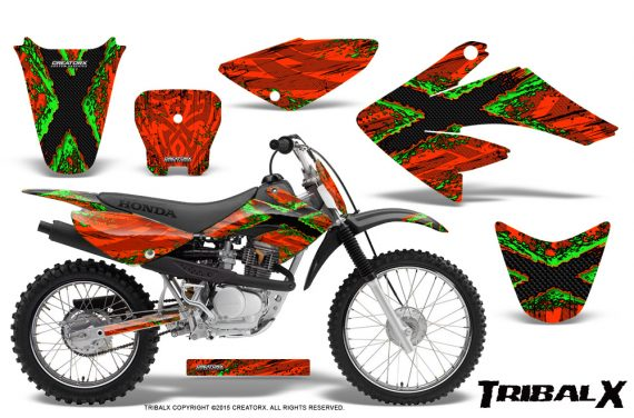 CRF 70 80 100 Graphics Kit TribalX Green Red 570x376 - Honda CRF70 2004-2015 Graphics