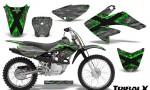 CRF 70 80 100 Graphics Kit TribalX Green Silver 150x90 - Honda CRF70 2004-2015 Graphics