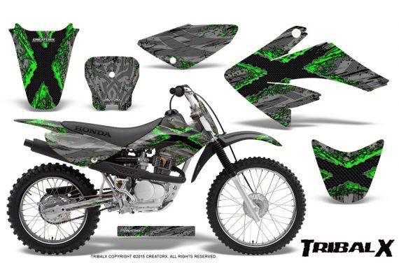 CRF 70 80 100 Graphics Kit TribalX Green Silver 570x376 - Honda CRF70 2004-2015 Graphics
