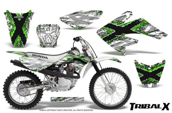 CRF 70 80 100 Graphics Kit TribalX Green White 570x376 - Honda CRF70 2004-2015 Graphics
