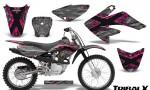 CRF 70 80 100 Graphics Kit TribalX Pink Silver 150x90 - Honda CRF70 2004-2015 Graphics
