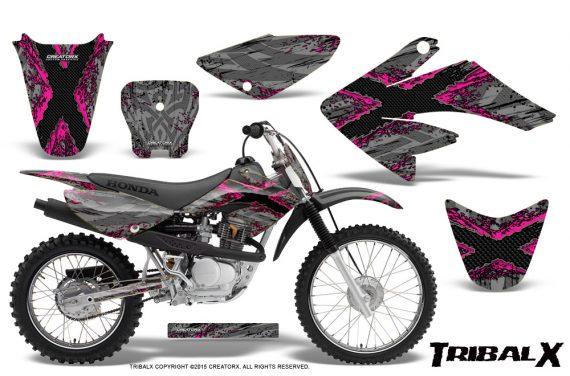 CRF 70 80 100 Graphics Kit TribalX Pink Silver 570x376 - Honda CRF70 2004-2015 Graphics