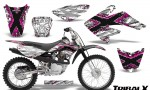 CRF 70 80 100 Graphics Kit TribalX Pink White 150x90 - Honda CRF70 2004-2015 Graphics