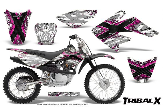 CRF 70 80 100 Graphics Kit TribalX Pink White 570x376 - Honda CRF70 2004-2015 Graphics