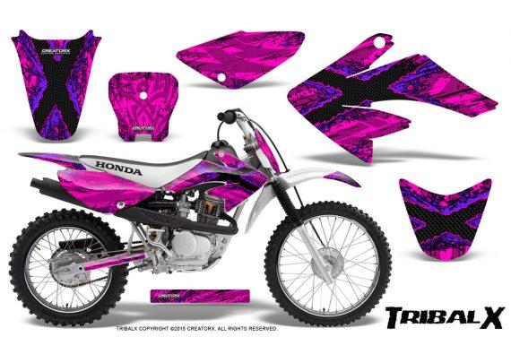 CRF 70 80 100 Graphics Kit TribalX Purple Pink 570x376 - Honda CRF70 2004-2015 Graphics