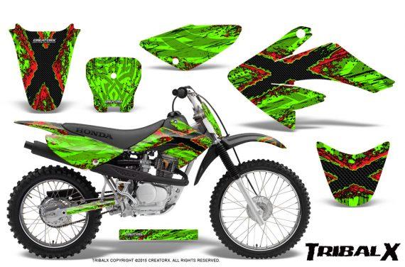 CRF 70 80 100 Graphics Kit TribalX Red Green 570x376 - Honda CRF70 2004-2015 Graphics