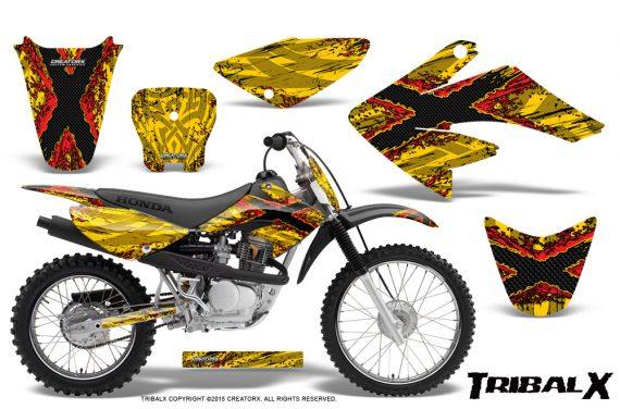 CRF 70 80 100 Graphics Kit TribalX Red Yellow 570x376 - Honda CRF70 2004-2015 Graphics