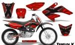 CRF 70 80 100 Graphics Kit TribalX Silver Red 150x90 - Honda CRF70 2004-2015 Graphics