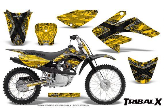 CRF 70 80 100 Graphics Kit TribalX Silver Yellow 570x376 - Honda CRF70 2004-2015 Graphics