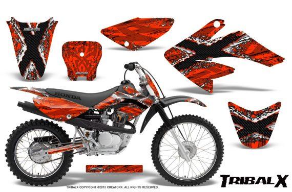 CRF 70 80 100 Graphics Kit TribalX White Red 570x376 - Honda CRF70 2004-2015 Graphics