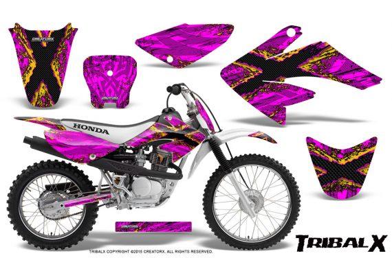 CRF 70 80 100 Graphics Kit TribalX Yellow Pink 570x376 - Honda CRF70 2004-2015 Graphics