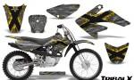 CRF 70 80 100 Graphics Kit TribalX Yellow Silver 150x90 - Honda CRF70 2004-2015 Graphics
