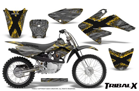 CRF 70 80 100 Graphics Kit TribalX Yellow Silver 570x376 - Honda CRF70 2004-2015 Graphics