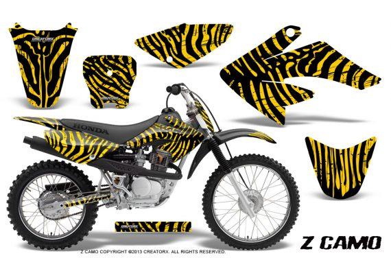 CRF 70 80 100 Graphics Kit ZCamo Yellow 570x376 - Honda CRF70 2004-2015 Graphics