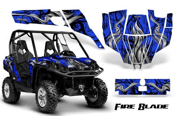 Can Am Commander CreatorX Graphics Kit Fire Blade Black Blue BB 570x376 - Can-Am BRP Commander 800-1000 Graphics