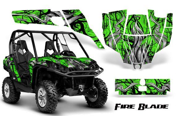 Can Am Commander CreatorX Graphics Kit Fire Blade Black Green BB 570x376 - Can-Am BRP Commander 800-1000 Graphics
