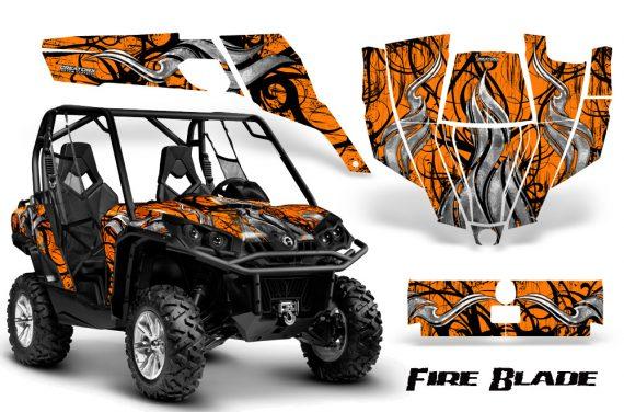 Can Am Commander CreatorX Graphics Kit Fire Blade Black Orange BB 570x376 - Can-Am BRP Commander 800-1000 Graphics
