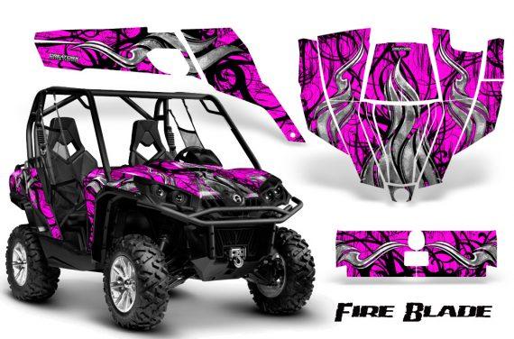 Can Am Commander CreatorX Graphics Kit Fire Blade Black Pink BB 570x376 - Can-Am BRP Commander 800-1000 Graphics