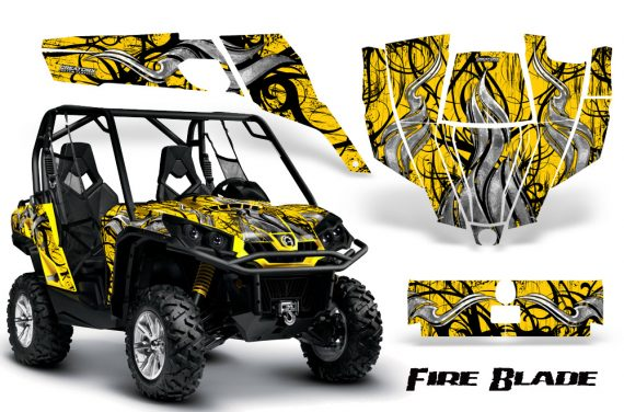 Can Am Commander CreatorX Graphics Kit Fire Blade Black Yellow YB 570x376 - Can-Am BRP Commander 800-1000 Graphics
