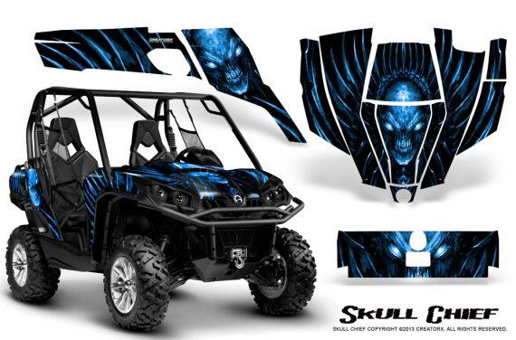 Can Am Commander CreatorX Graphics Kit Skull Chief Blue 570x376 - Can-Am BRP Commander 800-1000 Graphics