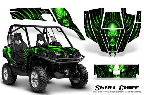 Can Am Commander CreatorX Graphics Kit Skull Chief Green 570x376 - Can-Am BRP Commander 800-1000 Graphics