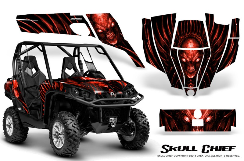 Can-Am-Commander-CreatorX-Graphics-Kit-Skull-Chief-Red
