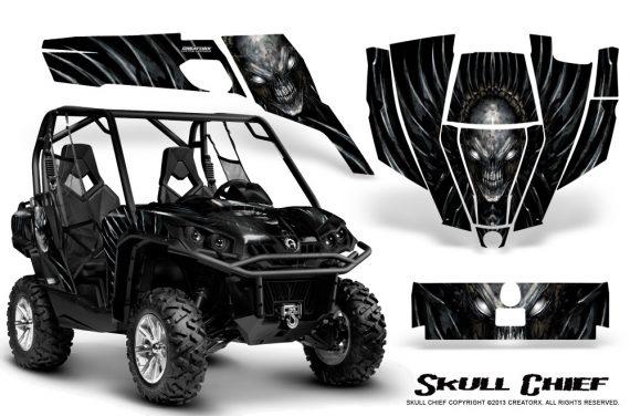 Can Am Commander CreatorX Graphics Kit Skull Chief Silver 570x376 - Can-Am BRP Commander 800-1000 Graphics
