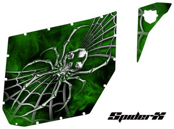 Can Am Commander Pro Armor CreatorX Graphics SpiderX Green 570x424 - Can-Am Commander CREATORX Graphics for Pro Armor Doors