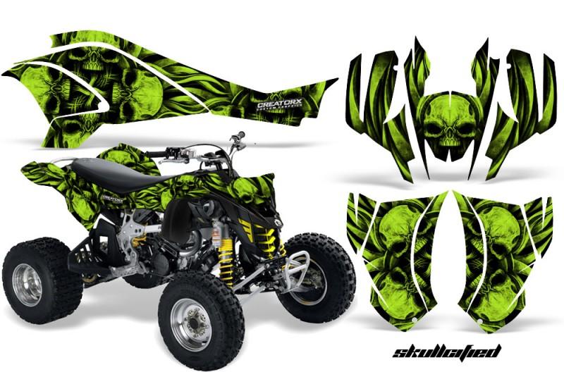 Can-Am-DS450-CreatorX-Graphics-Kit-Skullcified-Green-Flat-Black