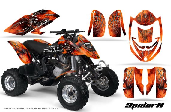 Can Am DS650 CreatorX Graphics Kit SpiderX Orange 570x376 - Can-Am DS650 Graphics