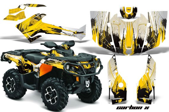 Can Am Outlander 1000 2012 AMR Graphics Kit CANAM YELLOW CX1 570x376 - Can-Am Outlander 500-650-800-1000 XMR-MAX XT XT-P DPS SST G2 2013-2021 Graphics