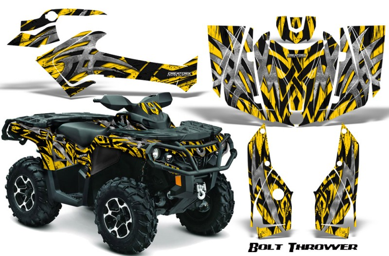 Can-Am-Outlander-2013-2014-XMR-MAX-G2-XT-DPS-CreatorX-Graphics-Kit-Bolt-Thrower-Yellow