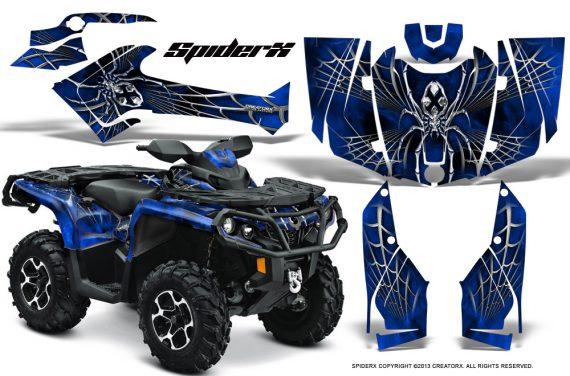 Can Am Outlander 2013 2014 XMR MAX G2 XT DPS CreatorX Graphics Kit SpiderX Blue1 570x376 - Can-Am Outlander 500-650-800-1000 XMR-MAX XT XT-P DPS SST G2 2013-2021 Graphics