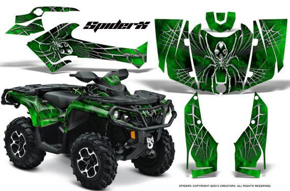 Can Am Outlander 2013 2014 XMR MAX G2 XT DPS CreatorX Graphics Kit SpiderX Green1 570x376 - Can-Am Outlander 500-650-800-1000 XMR-MAX XT XT-P DPS SST G2 2013-2021 Graphics