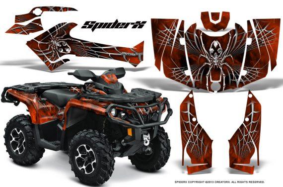 Can Am Outlander 2013 2014 XMR MAX G2 XT DPS CreatorX Graphics Kit SpiderX Orange Dark1 570x376 - Can-Am Outlander 500-650-800-1000 XMR-MAX XT XT-P DPS SST G2 2013-2021 Graphics