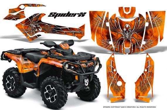 Can Am Outlander 2013 2014 XMR MAX G2 XT DPS CreatorX Graphics Kit SpiderX Orange1 570x376 - Can-Am Outlander 500-650-800-1000 XMR-MAX XT XT-P DPS SST G2 2013-2021 Graphics