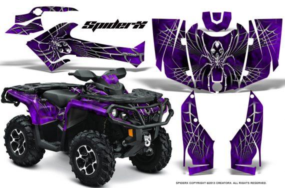 Can Am Outlander 2013 2014 XMR MAX G2 XT DPS CreatorX Graphics Kit SpiderX Purple1 570x376 - Can-Am Outlander 500-650-800-1000 XMR-MAX XT XT-P DPS SST G2 2013-2021 Graphics