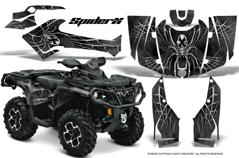 Can-Am-Outlander-2013-2014-XMR-MAX-G2-XT-DPS-CreatorX-Graphics-Kit-SpiderX-Silver