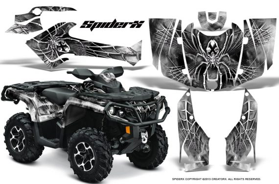 Can Am Outlander 2013 2014 XMR MAX G2 XT DPS CreatorX Graphics Kit SpiderX White1 570x376 - Can-Am Outlander 500-650-800-1000 XMR-MAX XT XT-P DPS SST G2 2013-2021 Graphics