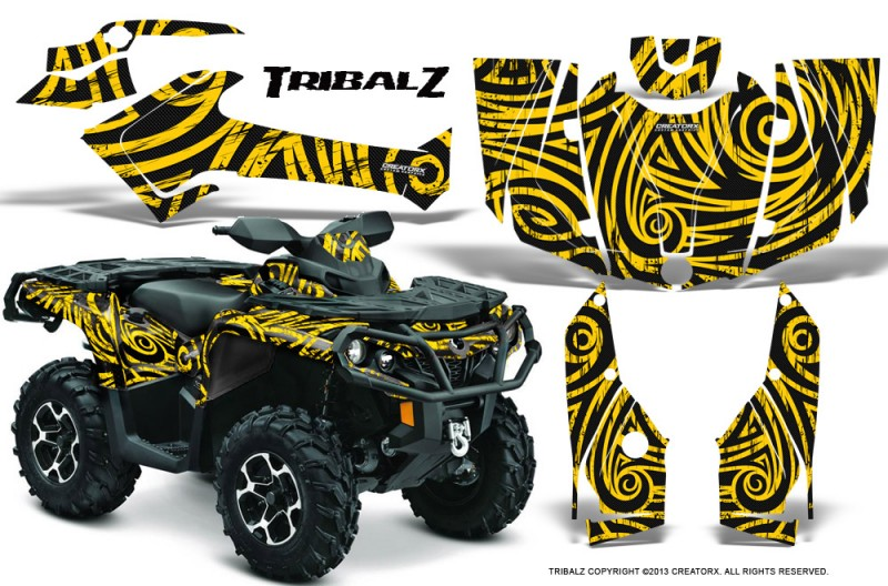 Can-Am-Outlander-2013-2014-XMR-MAX-G2-XT-DPS-CreatorX-Graphics-Kit-TribalZ-Yellow-BB