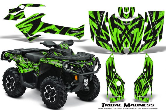 Can-Am-Outlander-2013-2014-XMR-MAX-G2-XT-DPS-Graphics-Kit-Tribal-Madness-Green