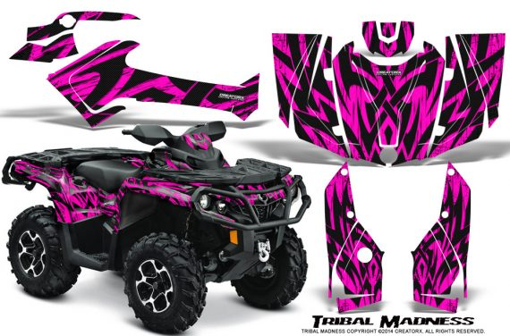 Can-Am-Outlander-2013-2014-XMR-MAX-G2-XT-DPS-Graphics-Kit-Tribal-Madness-Pink