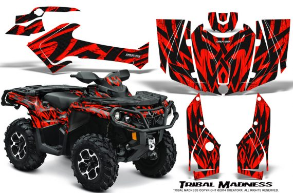 Can-Am-Outlander-2013-2014-XMR-MAX-G2-XT-DPS-Graphics-Kit-Tribal-Madness-Red