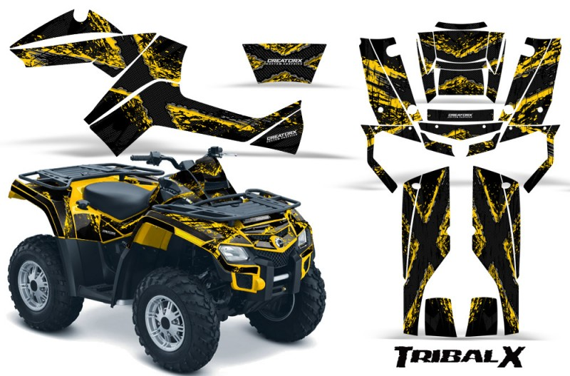 Can-Am-Outlander-800-CreatorX-Graphics-Kit-TribalX-Yellow-Black-YB
